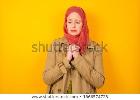 Mooie vrouw Blauw tranen naar camera Stockfoto © deandrobot