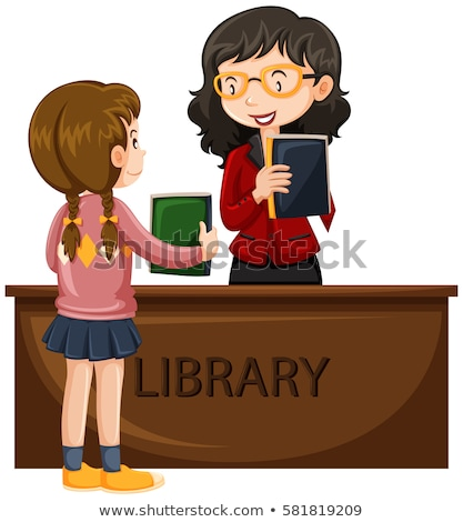 Girl borrowing book from library Stock photo © bluering