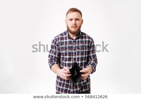 серьезный бородатый человека рубашку пусто Сток-фото © deandrobot