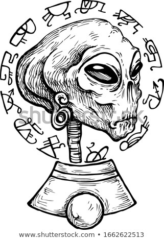 Nosso esboço alienígena cara estilo desenho Foto stock © cidepix