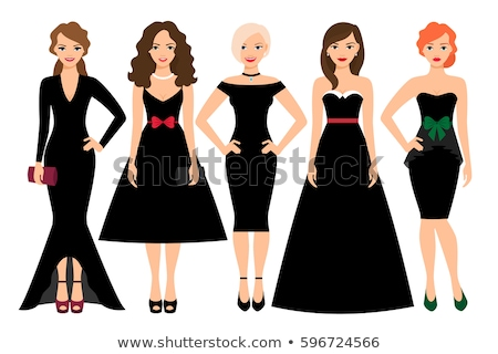 Stock photo: Model in strapless elegant dress isoalted on white