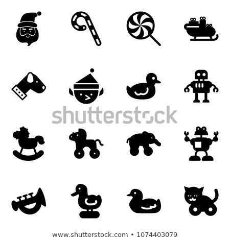 Rubber duck icon, flat, cartoon style. Duck toy for dogs isolated on white background. Vector illust Stock photo © lucia_fox