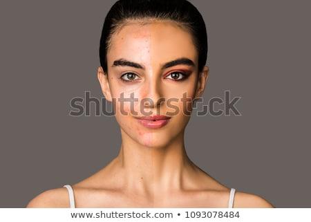 Primer plano mitad cara retrato hermosa jóvenes Foto stock © LightFieldStudios