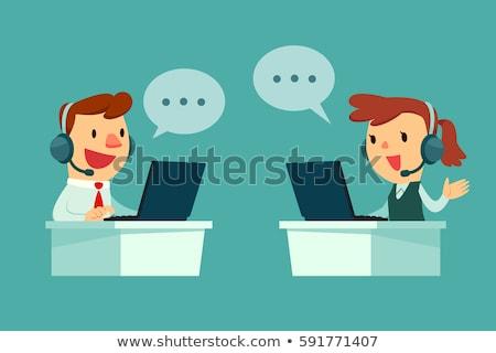cartoon illustration of a smiling customer support operator vect stock photo © nikodzhi