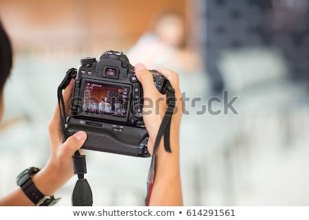 Kamera szabadtér lövés középkorú férfi zsákmány férfi Stock fotó © filipw