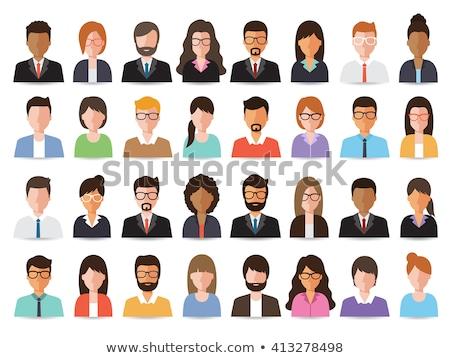 trabajo · en · equipo · icono · diseno · grupo · de · personas · líder · aislado - foto stock © WaD