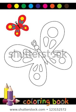 Kleurrijk vlinder blij gezicht illustratie kunst tropische Stockfoto © bluering