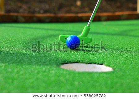 Mini golf játszik alulról fotózva közelkép kilátás Stock fotó © hamik