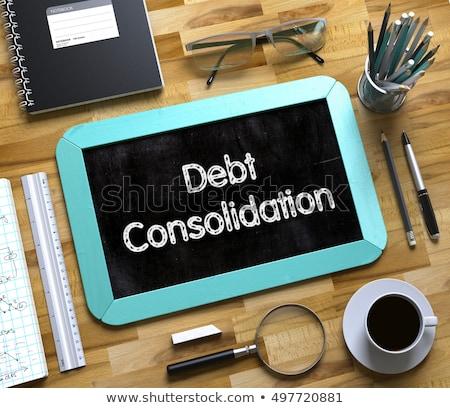 Schulden Text wenig Tafel 3D Ansicht Stock foto © tashatuvango
