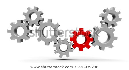 many gears with red gear stock photo © oakozhan