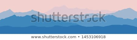 mountains landscape background with silhouettes of mountains and trees vector illustration stock photo © leo_edition