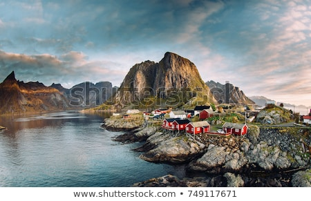 Village on Lofoten islands in Norway, Europe Stock photo © kyolshin