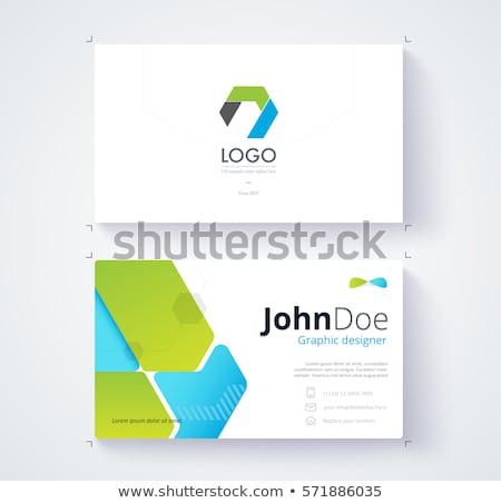 Kartvizit şablon yeşil üçgen logo yaratıcı Stok fotoğraf © studioworkstock