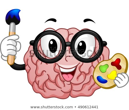Mascot Nerdy Brain Paint Stock photo © lenm