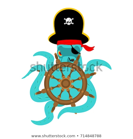 Octopus pirate and Handwheel. poulpe buccaneer and Rudder. Eye p Stock photo © popaukropa
