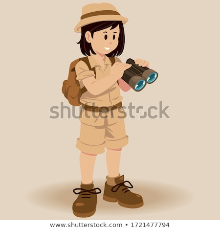 A young girl waving in a safari outfit Stock photo © bluering