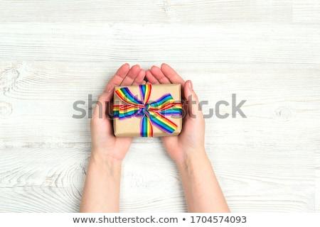 female hands holding gay pride awareness ribbon Stock photo © dolgachov