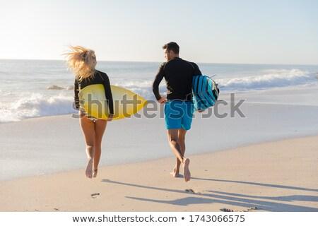 Pár szörfdeszkák víz energia sziluett szabadság Stock fotó © IS2