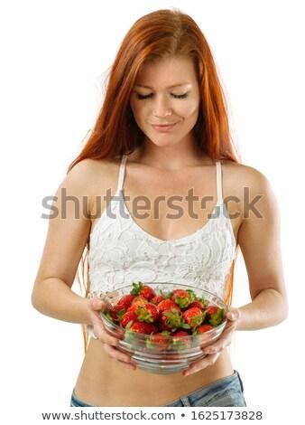 еды · чаши · свежие · клубники · женщину - Сток-фото © sumners
