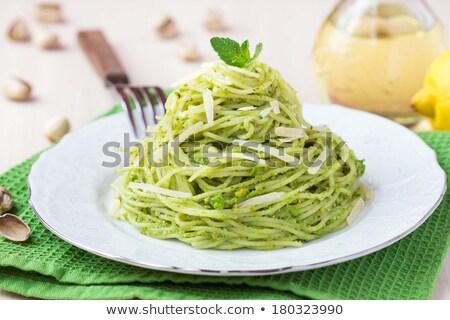 Pasta erwten mint pesto koken eten Stockfoto © glorcza