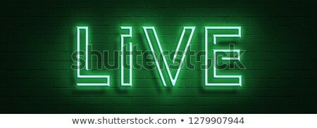 Live music neon sign with 3d signboard letter on brick wall background. Design template for decorati Stock photo © articular