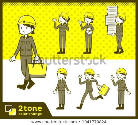 Stock photo: 2tone type helmet construction worker woman_set 02