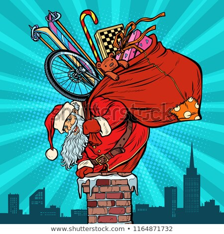 Activities and games. Santa Claus with gifts climbs into the chi Stock photo © studiostoks