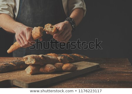 glutenvrij · brood · zwarte · houten · bloem · achtergrond - stockfoto © artjazz