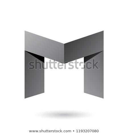 grey folded paper letter m vector illustration stock photo © cidepix