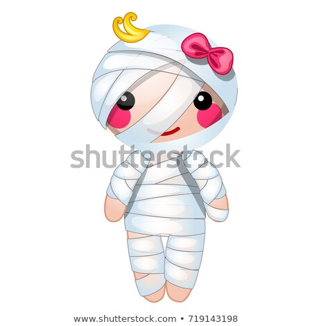 cute doll in the form of a mummy wrapped in bandages isolated on white background vector cartoon cl stock photo © lady-luck
