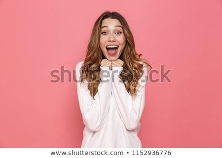 portret · opgewonden · jonge · toevallig · meisje · schreeuwen - stockfoto © deandrobot