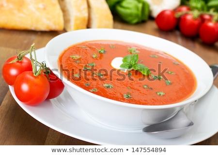 Fresco sopa de tomate tigela sazonal saúde Foto stock © YuliyaGontar