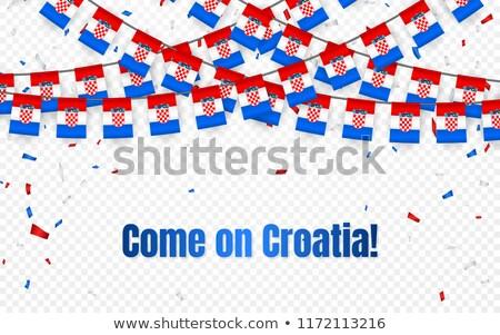 Хорватия гирлянда флаг конфетти прозрачный празднования Сток-фото © olehsvetiukha