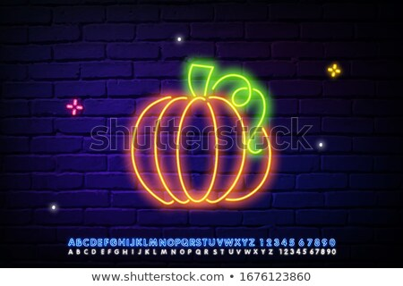 Vintage Glow Signboard with Pumpkin Stock photo © lissantee