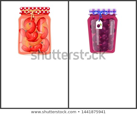 Preserved Food Canned Plums and Pickled Red Pepper Stock photo © robuart
