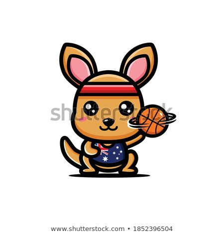 Cartoon Wallaby Basketball Stock photo © cthoman