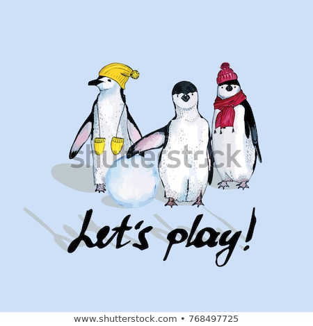 Cute pinguin sjaal icon vrolijk Stockfoto © Olena