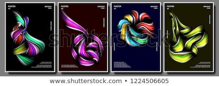 Flüssigkeit Pinsel Plakat Set Vektor mehrfarbig Stock foto © pikepicture