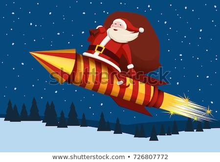 Raket christmas cartoon kerstman ruimte Stockfoto © Krisdog