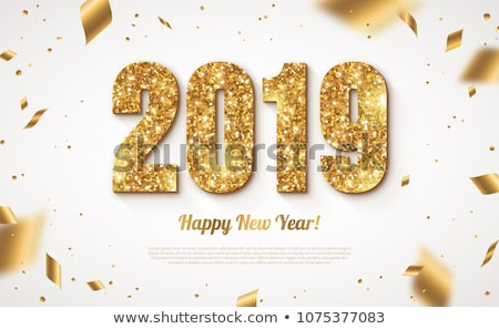 Happy New Year 2019 illustration with fireworks and 3d number on blue background. Vector Holiday des Stock photo © articular