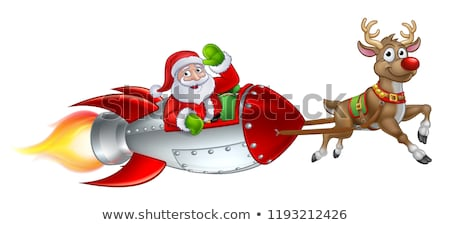 Santa Rocket Sleigh Christmas Cartoon Stock photo © Krisdog