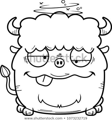 Sarhoş karikatür bizon örnek bakıyor Stok fotoğraf © cthoman
