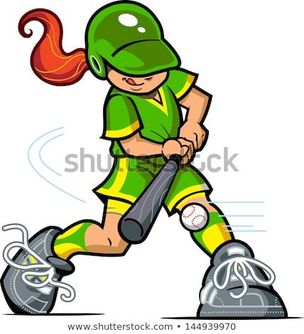 sevimli · beysbole · benzer · top · oyunu · kız · karikatür · maskot · karakter · işaret - stok fotoğraf © hittoon