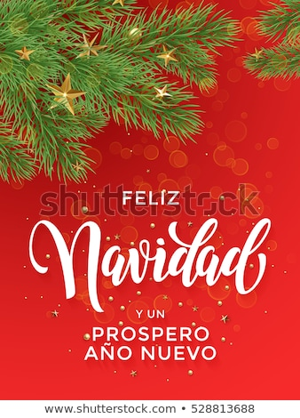 Gold Christmas tree ornament card in spanish Stock photo © cienpies