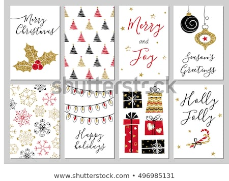 Noël or glitter carte de vœux joyeux luxe Photo stock © cienpies