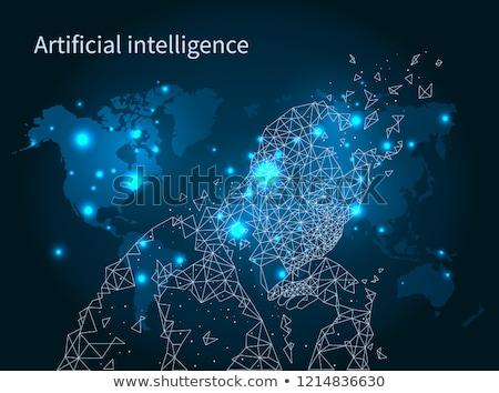 Сток-фото: искусственный · интеллект · карта · вектора · набор