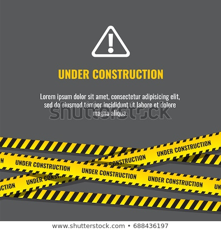 Under construction website page with black and yellow striped borders vector illustration. Border st Stock photo © kyryloff