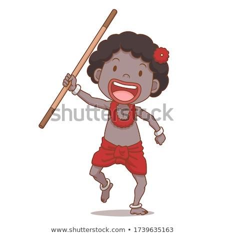 Cartoon chłopca barbarzyńca uśmiechnięty ilustracja szczęśliwy Zdjęcia stock © cthoman