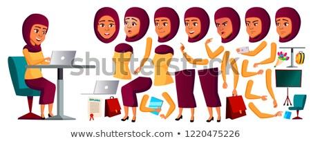 arab muslim teen girl avatar set vector hijab face emotions emotional leisure smile cartoon h stock photo © pikepicture