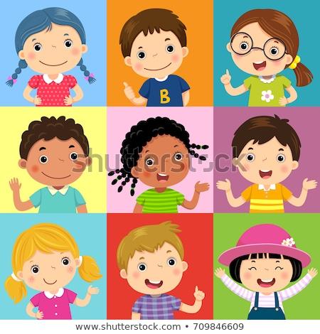 Asiático menina avatar conjunto criança vetor Foto stock © pikepicture